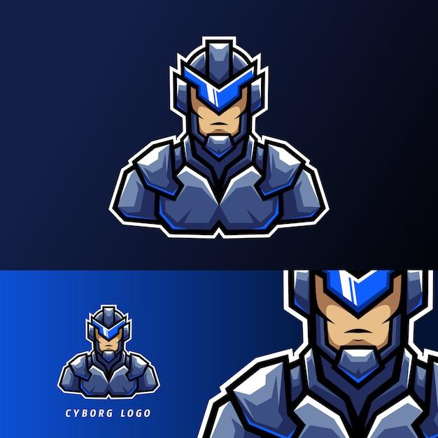 Blauw robotachtig cyborg sport esport logo templae ontwerp met uniform van ijzer Premium Vector