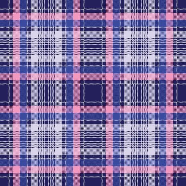 Blauw roze geruit pixel naadloos patroon Premium Vector
