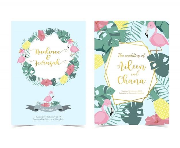 Blauw roze uitnodigingskaart met palm, ananas, hibiscus Premium Vector