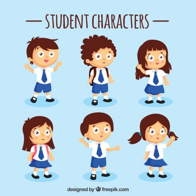 Blauw student characters set Gratis Vector