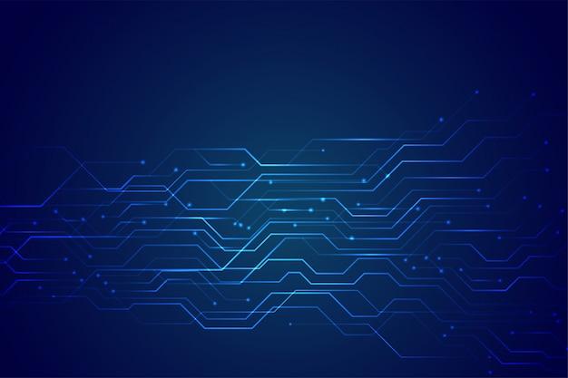 Blauw technologiecircuitdiagram met gloeiende lijnlichten Gratis Vector