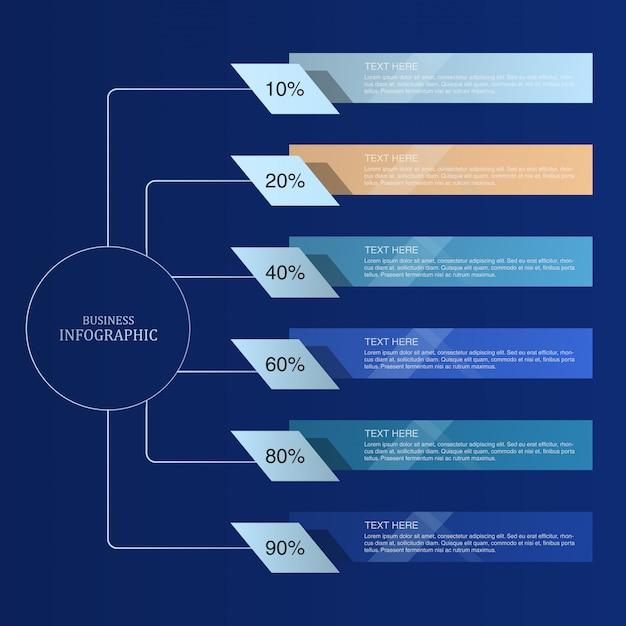 Blauw thema infographic Premium Vector