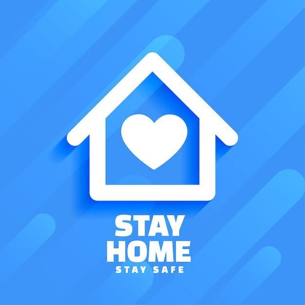 Blauw thuis blijven en veilig ontwerp als achtergrond Gratis Vector