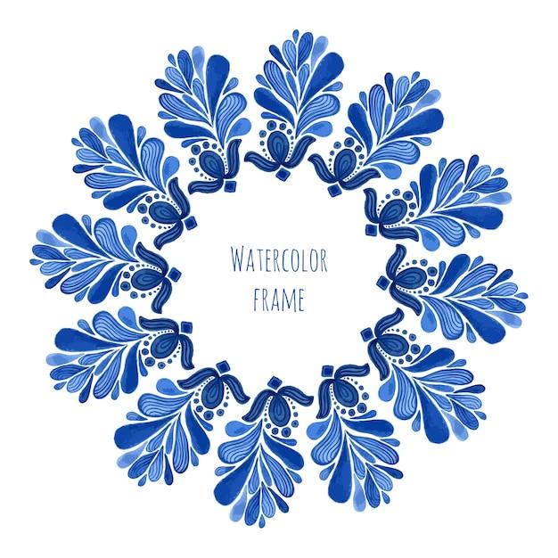 Blauw traditioneel bloemen rond kader in russische gzhelstijl of de stijl van holland Premium Vector