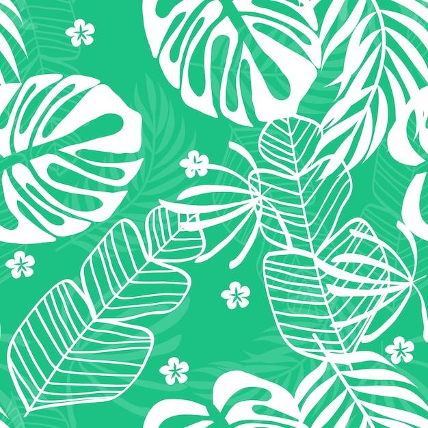 Blauw tropisch bladerenpatroon. tropisch naadloos patroon met witte bladeren van monstera, banaan en palmen Premium Vector