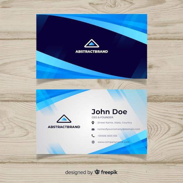 Blauw visitekaartje met abstract ontwerp Gratis Vector