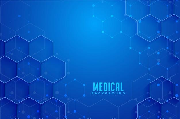 Blauw zeshoekig medisch en gezondheidszorgontwerp als achtergrond Gratis Vector