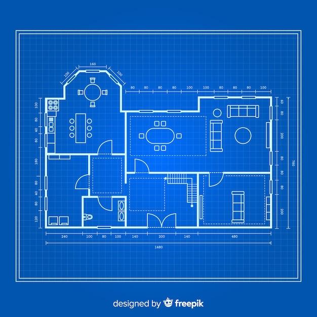 Blauwdruk van een huis bovenaanzicht Gratis Vector