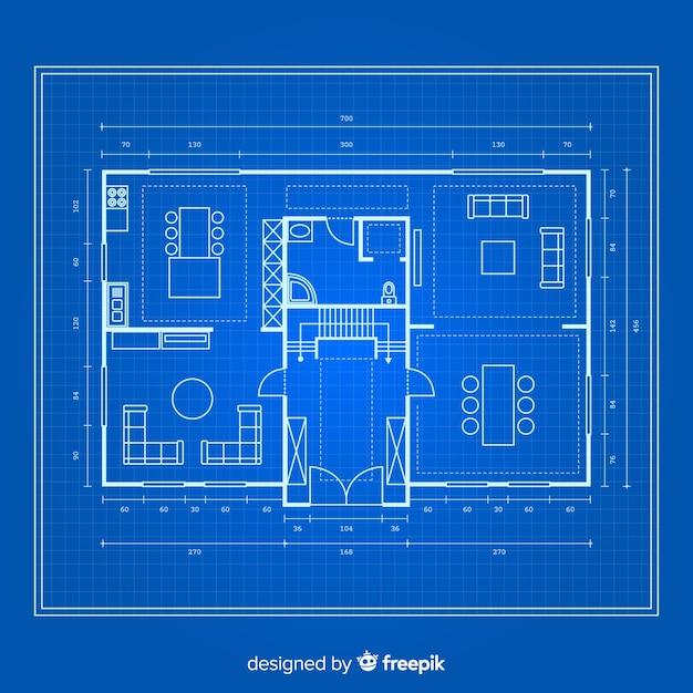 Blauwdruk van een huis op blauwe achtergrond Gratis Vector
