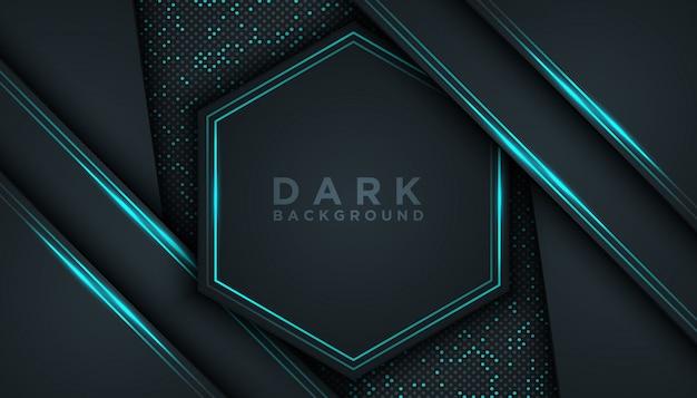 Blauwe abstracte dimensie zwarte achtergrond Premium Vector