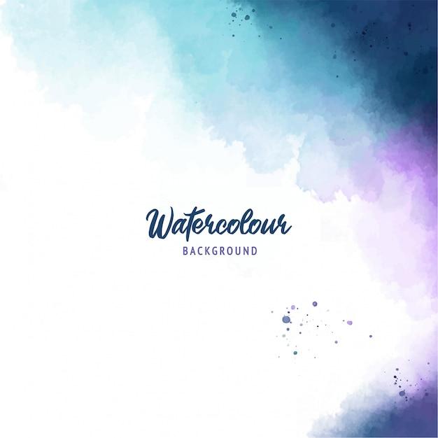 Blauwe abstracte splash verf achtergrond met aquarel textuur Premium Vector