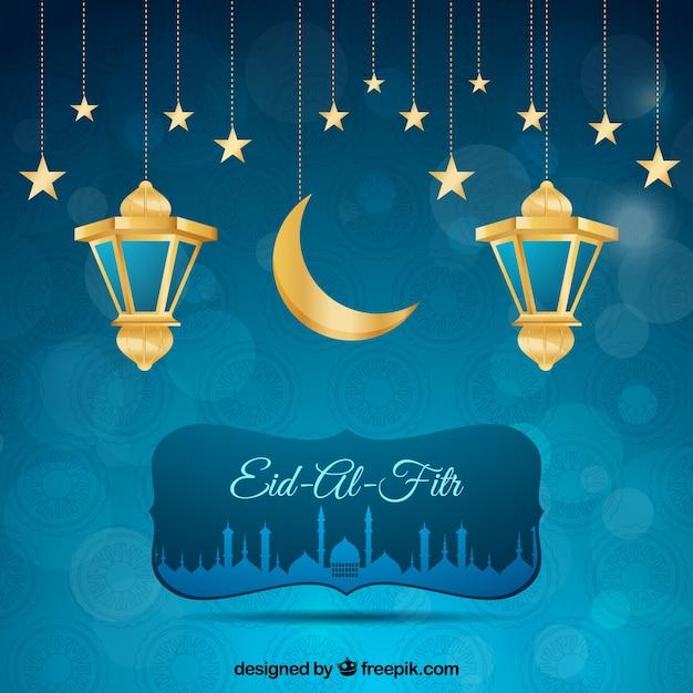 Blauwe achtergrond bokeh van eid al fitr met lantaarns en sterren Gratis Vector