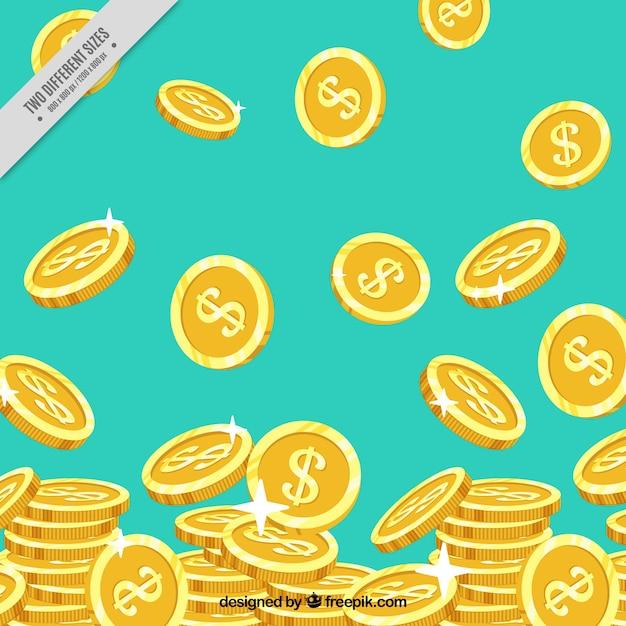 Blauwe achtergrond met glanzende gouden munten Gratis Vector