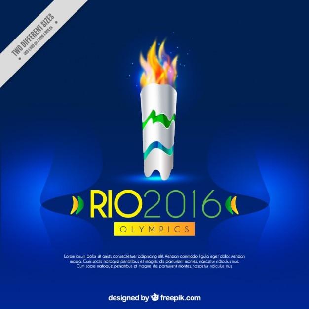 Blauwe achtergrond met olympische toorts Gratis Vector