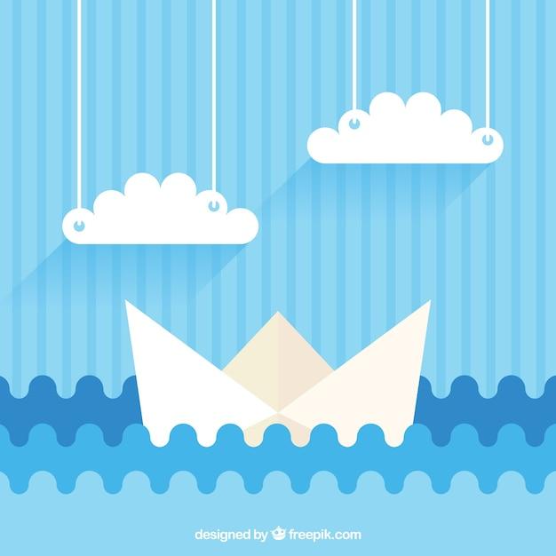Blauwe achtergrond met papieren boot en wolken Gratis Vector