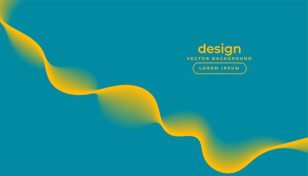 Blauwe achtergrond met stromend geel golfontwerp Gratis Vector