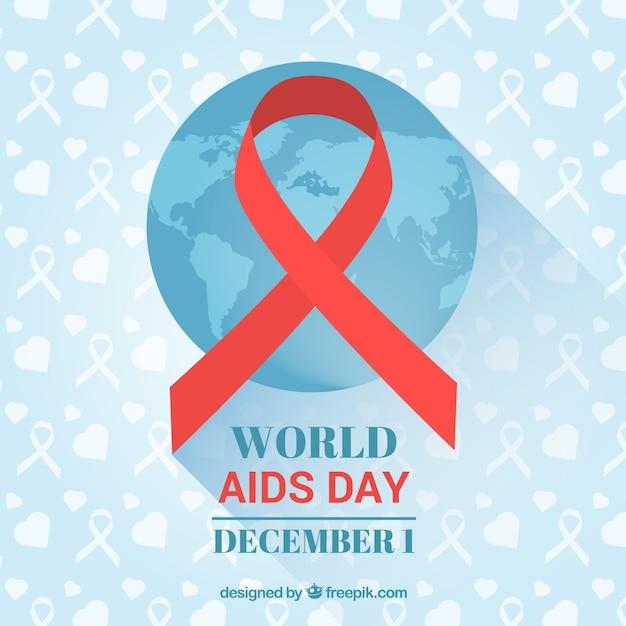 Blauwe achtergrond met wereld kaart en rode lint voor aids dag Gratis Vector