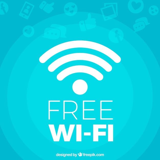 Blauwe achtergrond van gratis wifi Premium Vector