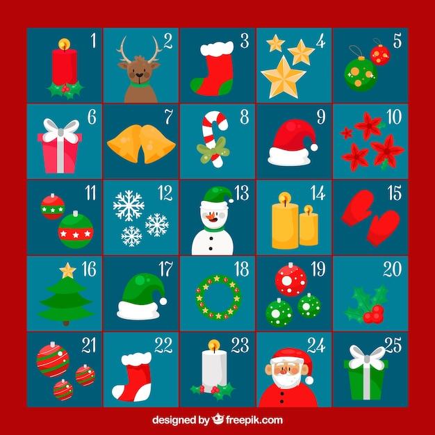 blauwe adventskalender in een rood kader vector gratis download. Black Bedroom Furniture Sets. Home Design Ideas