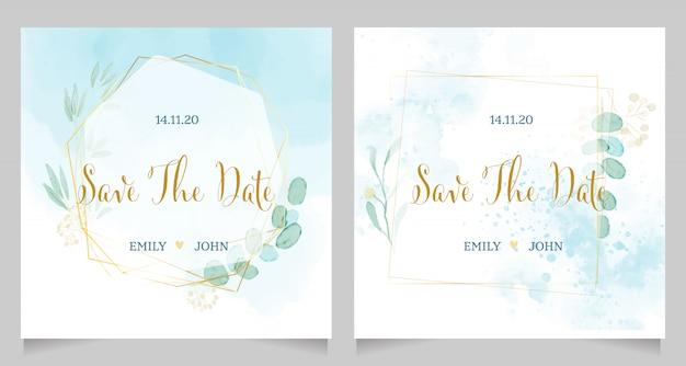 Blauwe aquarel bruiloft uitnodiging met gouden frame krans sjabloon lay-out Premium Vector