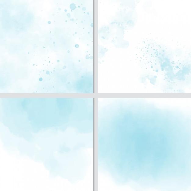 Blauwe aquarel splash achtergrond collectie Premium Vector