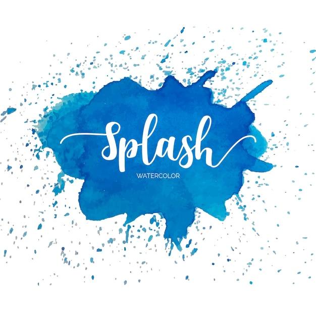 Blauwe aquarel splash Gratis Vector