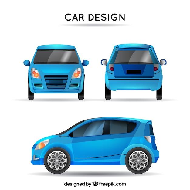 Blauwe auto in verschillende uitzichten Gratis Vector