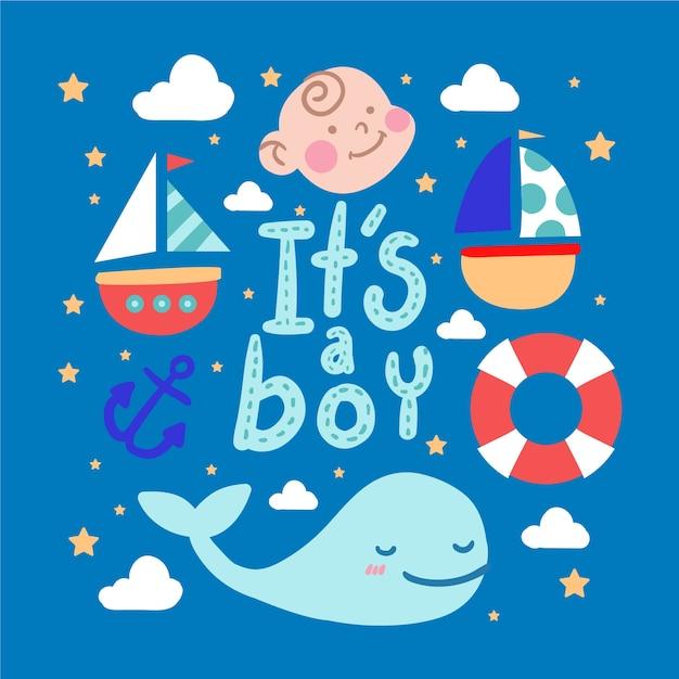 Blauwe baby shower jongen Gratis Vector