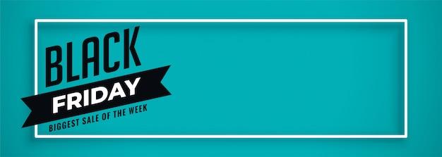 Blauwe banner voor zwarte vrijdagverkoop met tekstruimte Gratis Vector