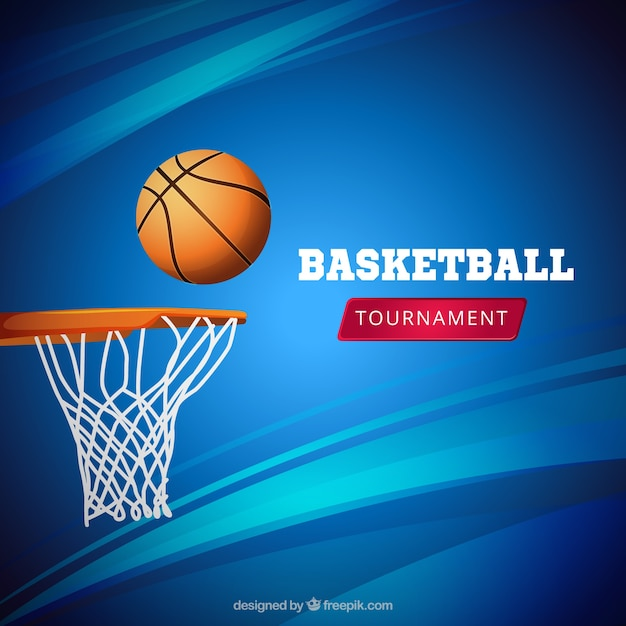 Blauwe basketaball achtergrond Gratis Vector