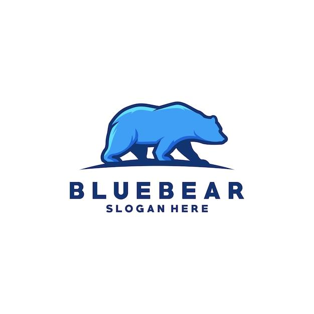 Blauwe beer logo premium vector Premium Vector