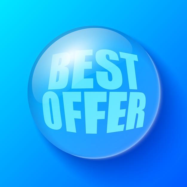 Blauwe bel met de beste aanbiedingstekst Gratis Vector