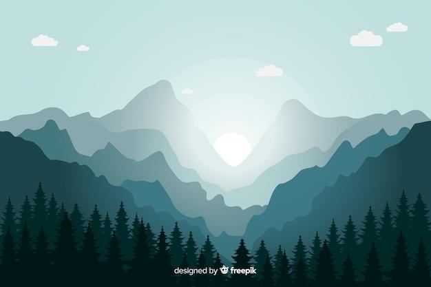 Blauwe bergen landschap zonsopgang Gratis Vector