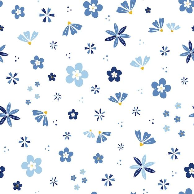 Blauwe bloembloesemtuin Premium Vector