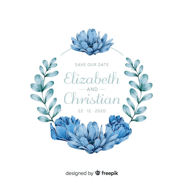 Blauwe bloemenframe huwelijksuitnodiging in waterverfstijl Gratis Vector