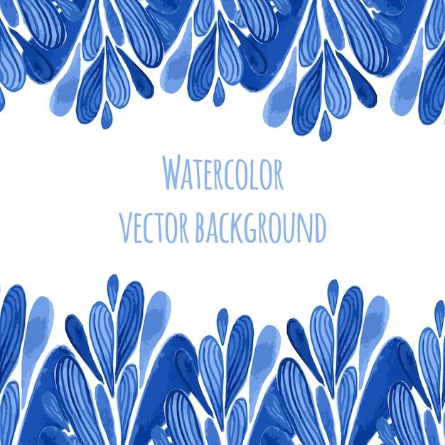 Blauwe bloemenrand in de stijl van rusland of van holland. vecor-sjabloon met waterverfdecoratie. kan worden gebruikt voor de wenskaart, banner, souvenir Premium Vector