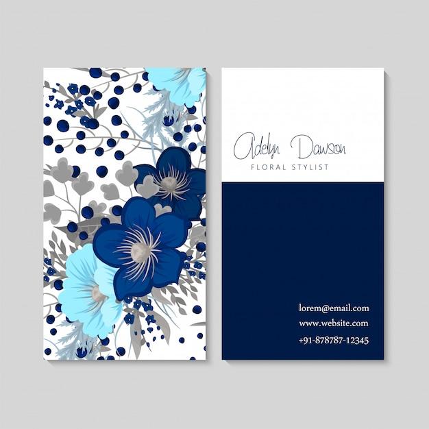 Blauwe bloemvisitekaartjes Gratis Vector