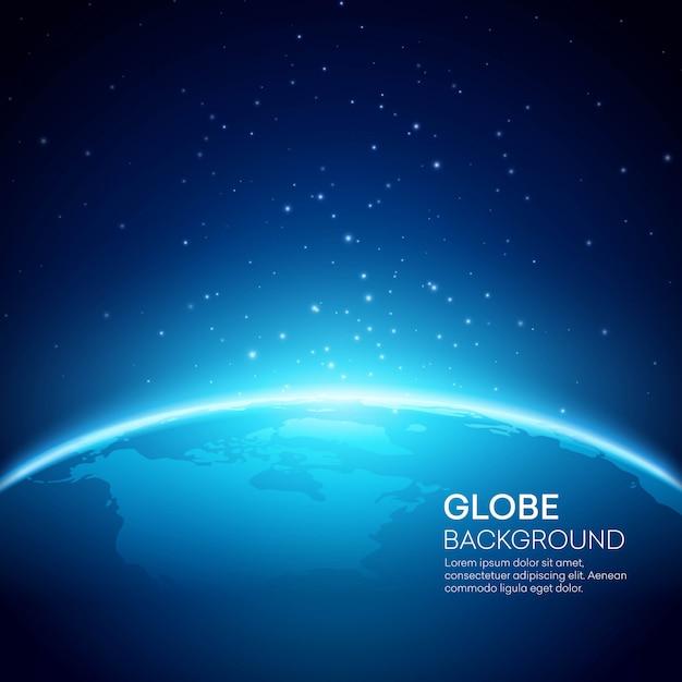 Blauwe bol aarde achtergrond Premium Vector