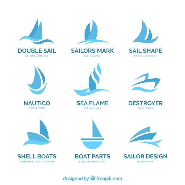 Blauwe boot logo's in abstracte stijl Gratis Vector