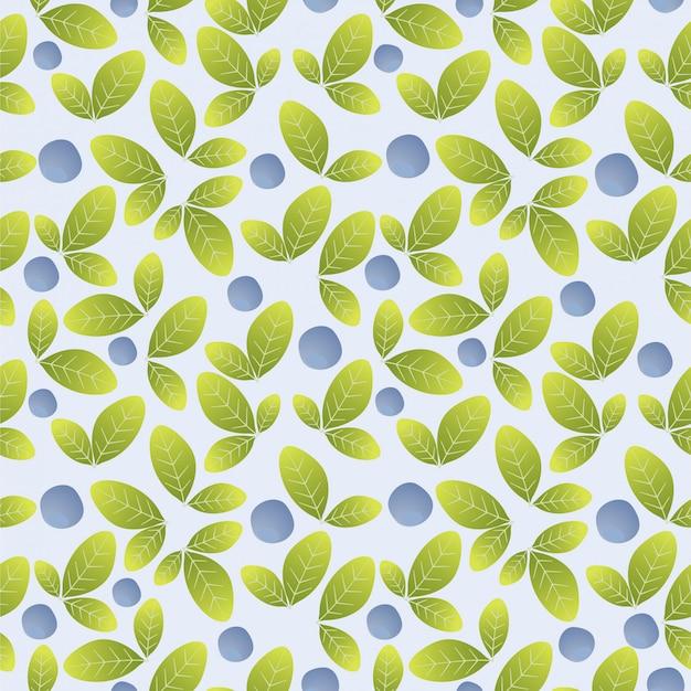 Blauwe bosbes naadloze patroon achtergrond Premium Vector