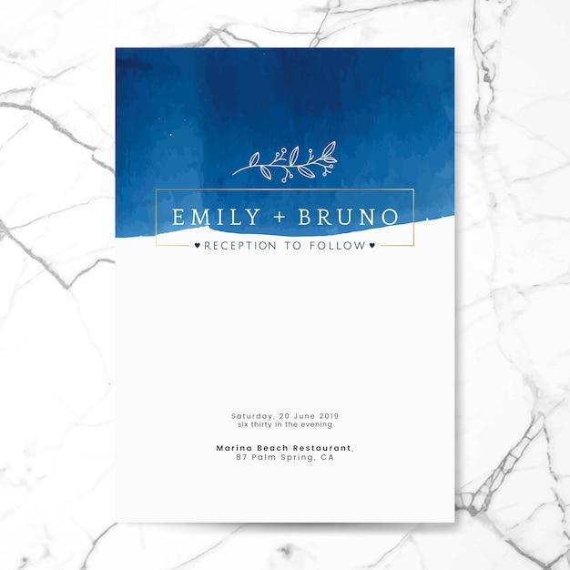Blauwe bruiloft uitnodiging kaart vector Gratis Vector