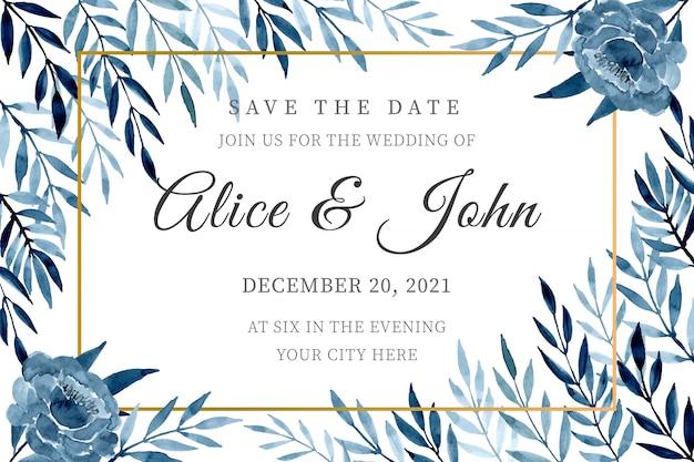 Blauwe bruiloft uitnodiging kaartsjabloon met aquarel verlaat Premium Vector