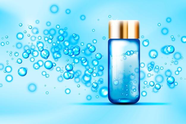 Blauwe bubbels en parfum glazen fles op abstracte ruimte Premium Vector
