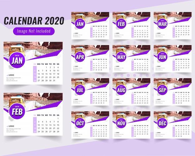Blauwe bureaukalender 2020 met blauwe vorm Premium Vector