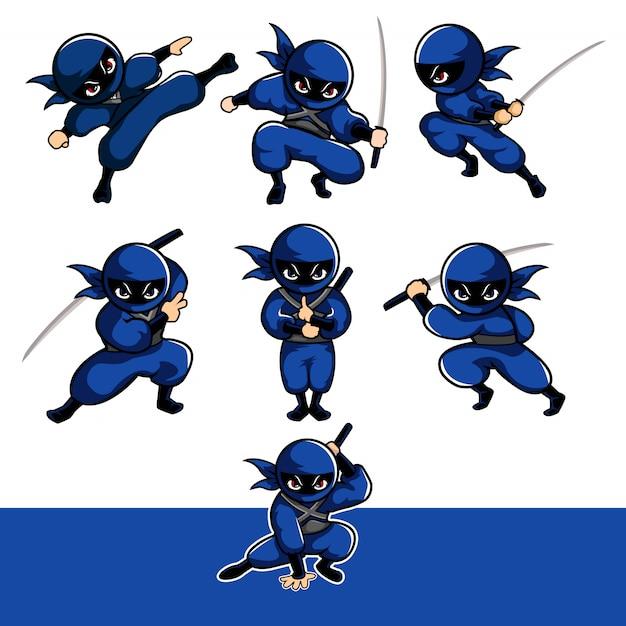 Blauwe cartoon ninja met zeven verschillende vormen met behulp van sward Premium Vector