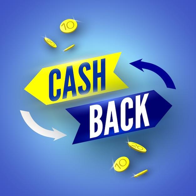 Blauwe cash back banner met munten. illustratie. Premium Vector