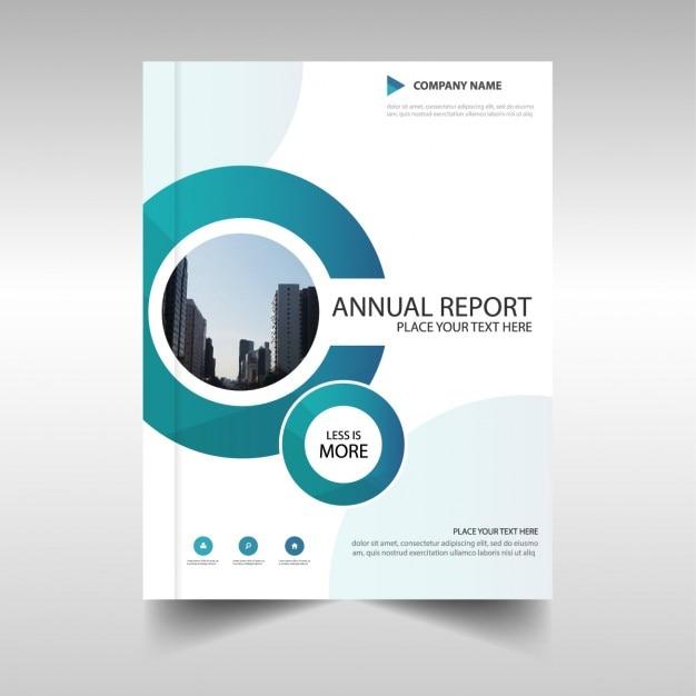 Blauwe cirkel jaarverslag malplaatjeontwerp Gratis Vector