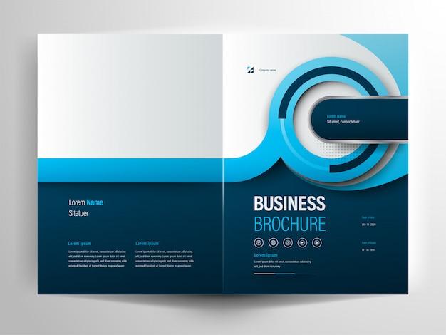 Blauwe cirkel zakelijke brochure lay-out sjabloon Premium Vector