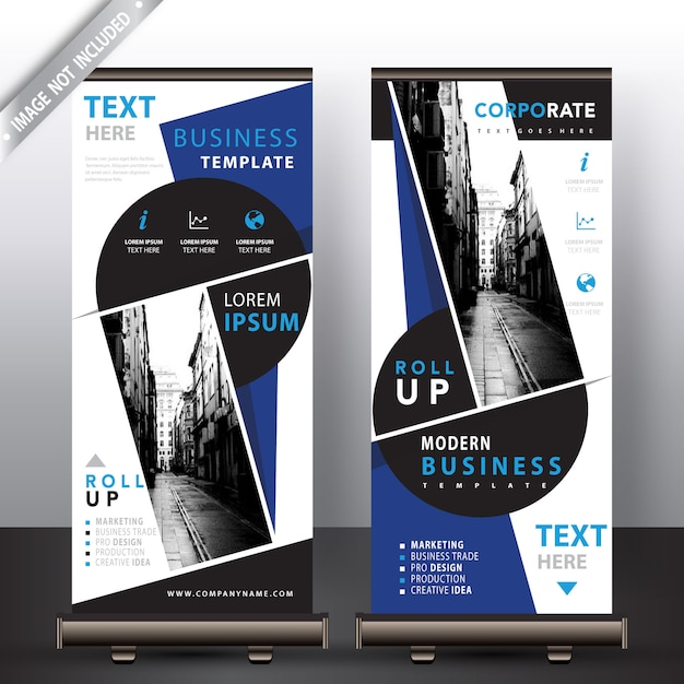 Blauwe commerciële oprolbare banners Gratis Vector