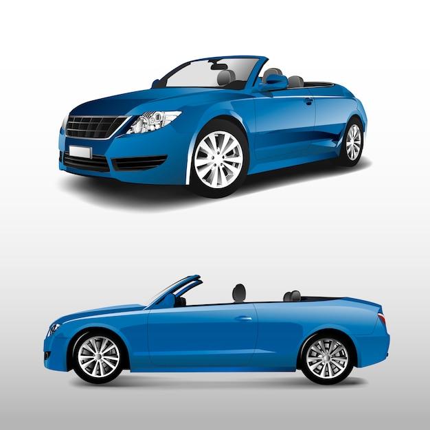 Blauwe convertibele auto die op witte vector wordt geïsoleerd Gratis Vector
